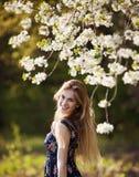 Femme se tenant dans l'arbre de floraison Photo stock