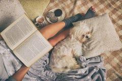 Femme se trouvant sur le lit avec le chien Images libres de droits