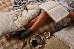 Femme se trouvant sur le lit avec le chien Photos stock