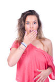 Femme semblant étonnée Image stock