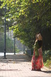 Femme seul attendant Images libres de droits
