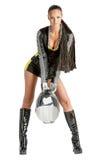 Femme sexy attirant dans l'uniforme de motoracer Photos libres de droits