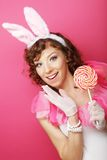 Femme sexy avec Bunny Ears Blonde de play-boy Photographie stock libre de droits