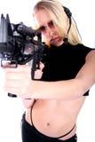 Femme avec des canons Photo stock