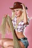Femme sexy avec le chapeau de cowboy Photos libres de droits