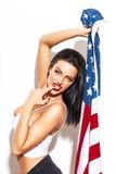 Femme sexy avec le drapeau des Etats-Unis Photo stock