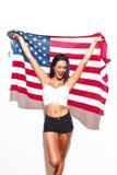 Femme sexy avec les gros seins et le drapeau des Etats-Unis Images libres de droits