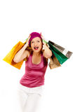 Femme sexy d'achats avec un bon nombre de sac multicolore Photo libre de droits