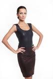 Femme sexy d'Eautiful dans la jupe brune Images stock