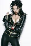 Femme sexy dans la robe noire Photographie stock libre de droits