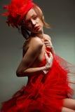 Femme sexy dans le chapeau rouge avec le voile net photographie stock libre de droits