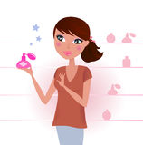 Femme sexy dans le système de parfum Photographie stock libre de droits
