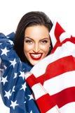 Femme sexy de brune dans le drapeau des Etats-Unis Images libres de droits