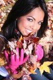 Femme sexy de mode d'automne à l'extérieur Image libre de droits