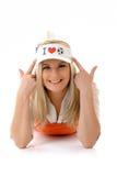 Femme sexy de passioné du football avec le chapeau drôle Image libre de droits