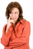 Femme songeur sur le blanc photos stock