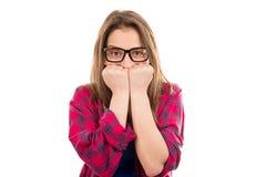 Femme soucieuse souffrant de la phobie image libre de droits