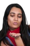 Femme soufflant un baiser Photo libre de droits
