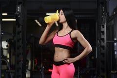 Femme sportive belle de forme physique tenant un dispositif trembleur et une pose photos libres de droits