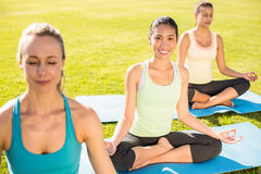Femme sportive de sourire faisant le yoga avec ses amis Image stock