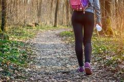 Femme sportive marchant dans la forêt photographie stock