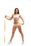 Femme sportive sur le fond blanc Photo libre de droits