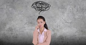 Femme stressante d'affaires avec un symbole de désordre banque de vidéos