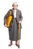Femme supérieure élégante avec le bâton de marche Images libres de droits