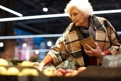 Femme supérieure élégante dans l'épicerie photographie stock libre de droits