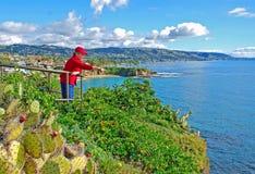 Femme supérieure au parc de vue au Laguna Beach, CA Images stock