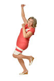 Femme supérieure avec des pouces Image libre de droits