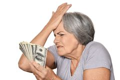 Femme supérieure avec l'argent Images stock
