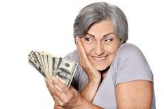 Femme supérieure avec l'argent Images libres de droits