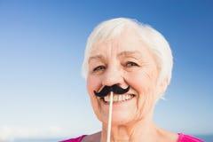 Femme supérieure avec la fausse moustache Photos libres de droits