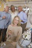 Femme supérieure avec le verre de Champagne Images libres de droits
