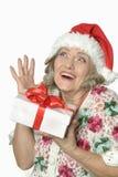 Femme supérieure dans le chapeau de Santa Claus Image stock