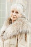 Femme supérieure dans le manteau de fourrure Photographie stock