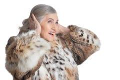 Femme supérieure en fourrure Photographie stock