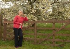 Femme supérieure heureuse se reposant dehors sur une barrière images libres de droits