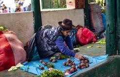 Femme supérieure indigène s'asseyant au sol et vendant des légumes photos stock