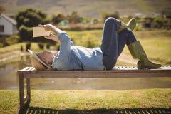 Femme supérieure lisant un livre tout en se trouvant sur le banc en parc Image libre de droits