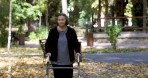 Femme supérieure marchant avec le marcheur en parc d'automne banque de vidéos