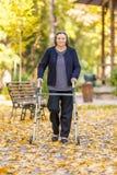 Femme supérieure marchant dehors avec le marcheur en parc d'automne Photo stock