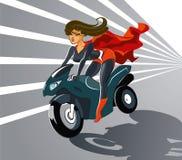 Femme superbe sur la moto Image stock