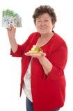 Femme supérieure d'isolement avec l'argent : concept pour la pension et le herita Image libre de droits
