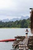 Femme sur Khao Sok National Park, montagne et lac dans T du sud Images stock