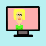 femme sur l'écran de TV Photographie stock libre de droits