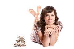 Femme sur l'étage. Photographie stock libre de droits