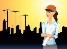 Femme sur l'activité de construction illustration stock