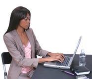 Femme sur l'ordinateur portatif 01 photo stock